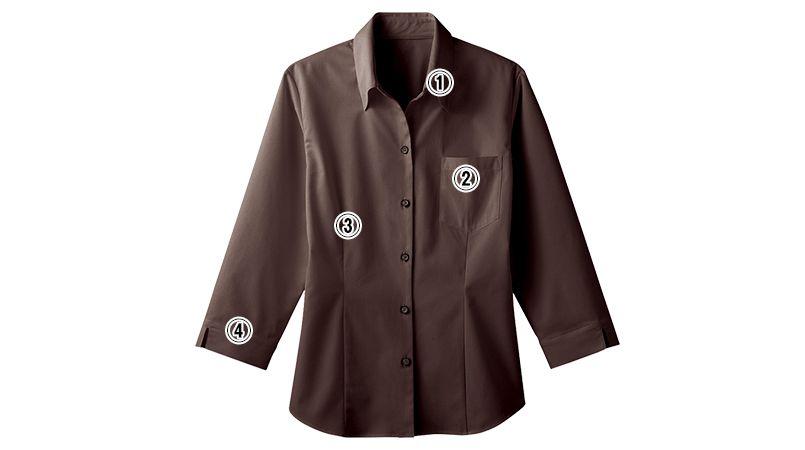 34207 BONUNI(ボストン商会) ベルカラーシャツ/七分袖(女性用) 商品詳細・こだわりPOINT