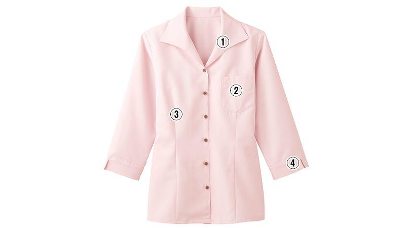 34208 BONUNI(ボストン商会) イタリアンカラーシャツ/七分袖(女性用) 商品詳細・こだわりPOINT