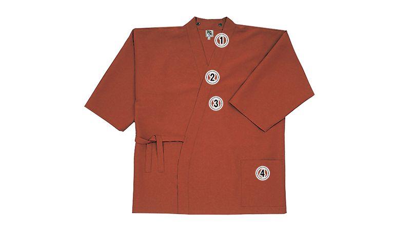 41301 BONUNI(ボストン商会) 作務衣上衣(男女兼用) ちりめん 商品詳細・こだわりPOINT
