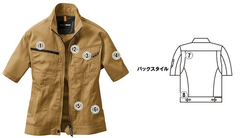 バートル 1716 [春夏用]T/Cライトチノ半袖ジャケット(JIS T8118適合)(男女兼用) 商品詳細・こだわりPOINT
