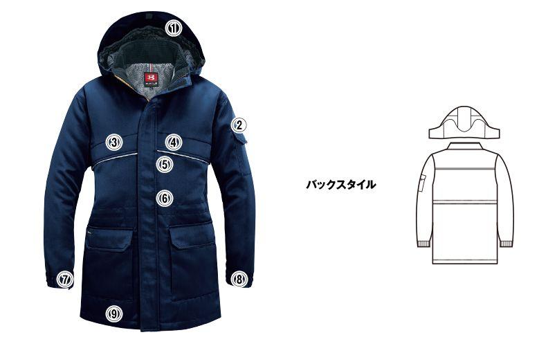 バートル 7111 [秋冬用]パイピング防寒コート(男女兼用) 商品詳細・こだわりPOINT