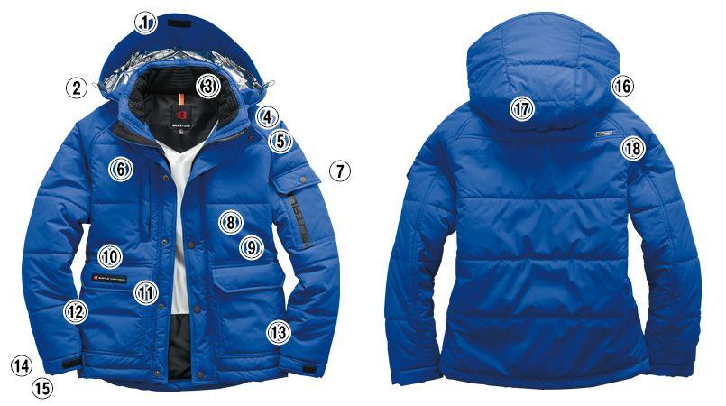 バートル 7510 [秋冬用]リップクロス防寒ジャケット(大型フード付)(男女兼用) 商品詳細・こだわりPOINT