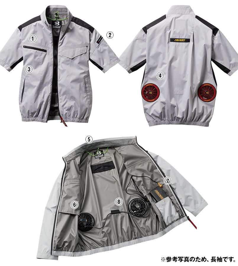 空調服 バートル AC1076SET-D エアークラフトセット 半袖ブルゾン(男女兼用) 商品詳細・こだわりPOINT