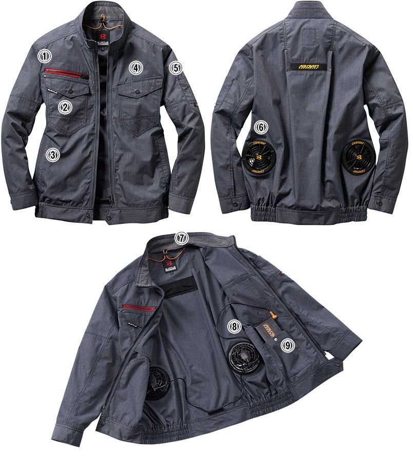 空調服 バートル AC7141SET-D エアークラフトセット 長袖ブルゾン(男女兼用) 商品詳細・こだわりPOINT