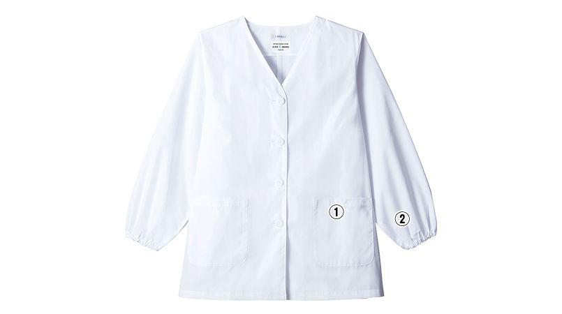 AB-6403 チトセ(アルベ) 白衣/長袖/襟なし(女性用) 商品詳細・こだわりPOINT