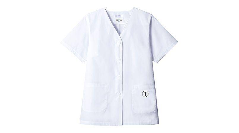 AB-6405 チトセ(アルベ) 白衣/半袖/襟なし(女性用) 商品詳細・こだわりPOINT