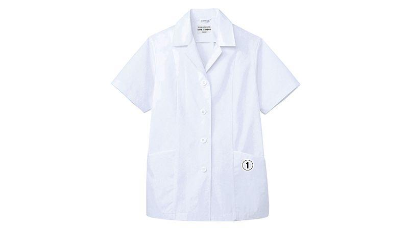 AB-6409 チトセ(アルベ) 白衣/半袖/襟あり(女性用) 商品詳細・こだわりPOINT