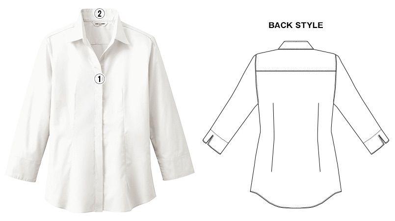 EP-7736 チトセ(アルベ) ブロードシャツ/七分袖(女性用)開襟 商品詳細・こだわりPOINT