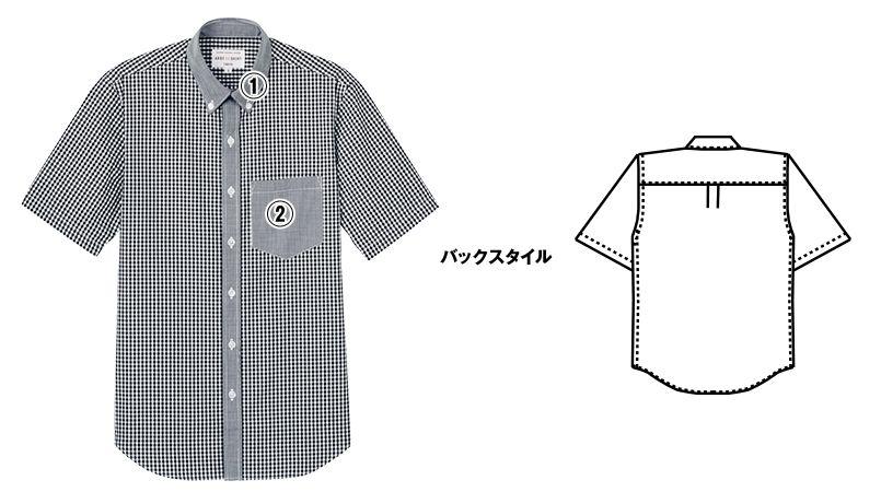 EP-8534 チトセ(アルベ) ボタンダウンシャツ/半袖(男女兼用) ギンガムチェック 商品詳細・こだわりPOINT
