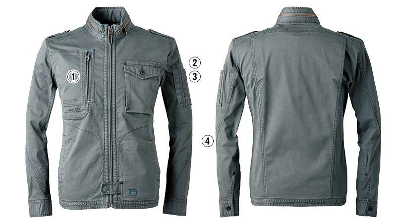 7890 アイズフロンティア 製品染めコットンストレッチワークジャケット 商品詳細・こだわりPOINT