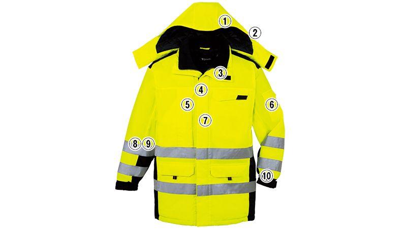 自重堂 48473 高視認性安全服 防水防寒コート(フード付) 商品詳細・こだわりPOINT
