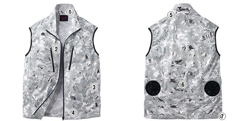 自重堂Jawin 54060SET [春夏用]空調服セット 迷彩 ベスト ポリ100% 商品詳細・こだわりPOINT