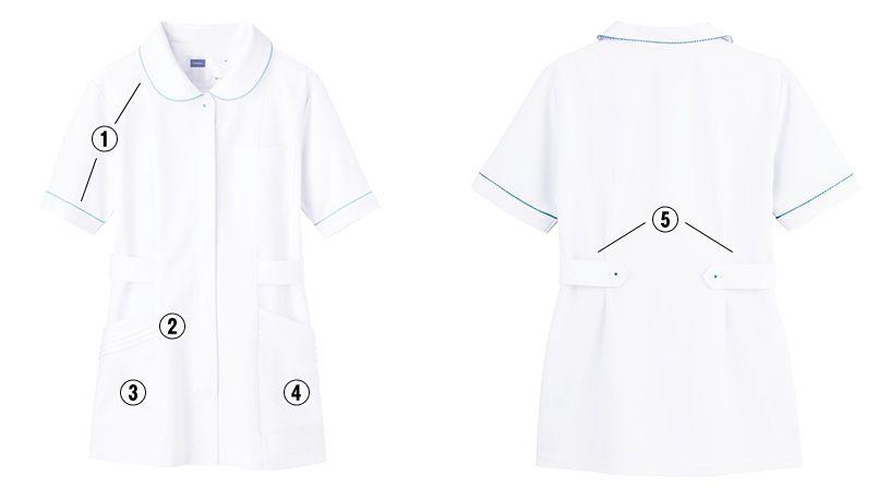 自重堂 WH11101 チュニック WHISEL チュニック パイピング かわいい襟元(女性用) 商品詳細・こだわりPOINT