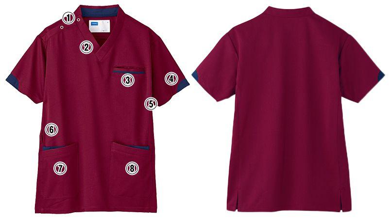 自重堂 WH11985 WHISEL スクラブ(男女兼用)袖口配色 商品詳細・こだわりPOINT