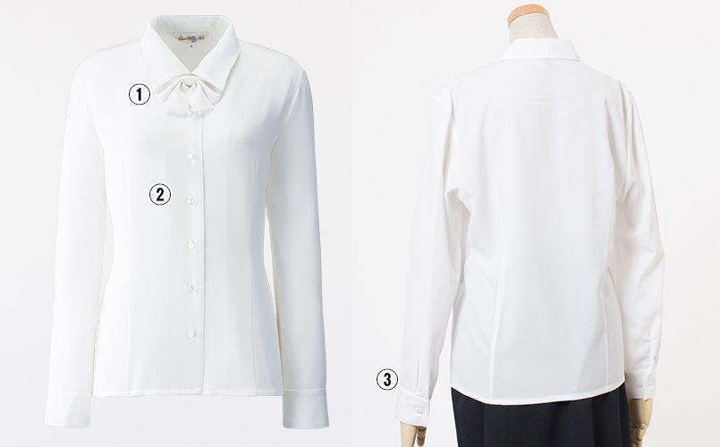 en joie(アンジョア) 01130 [通年]シンプルデザインで定番3つの襟を楽しめる長袖ブラウス 無地 商品詳細・こだわりPOINT