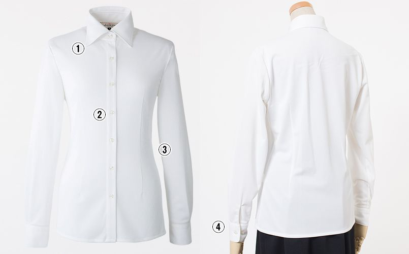 en joie(アンジョア) 01165 [通年]シワになりにくくストレッチで透け防止の長袖ニットシャツ 商品詳細・こだわりPOINT