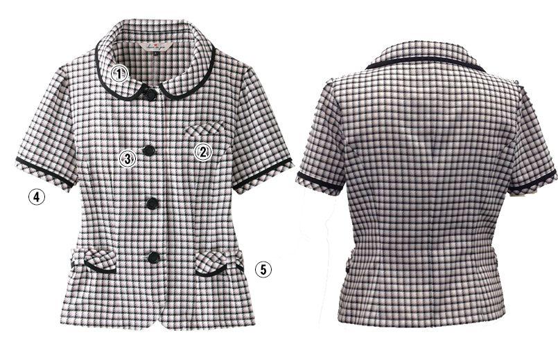 en joie(アンジョア) 26390 [春夏用]丸襟とポケットのリボンがかわいいチェック柄オーバーブラウス 商品詳細・こだわりPOINT