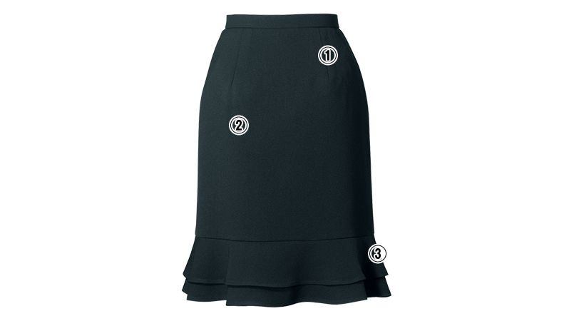 en joie(アンジョア) 51411 [通年]立体感のあるシルエットで快適なティアードスカート 無地 商品詳細・こだわりPOINT