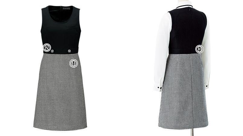 en joie(アンジョア) 61460 [通年]上質なニット×千鳥チェック柄のジャンパースカート 商品詳細・こだわりPOINT