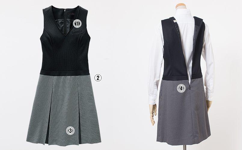 en joie(アンジョア) 61510 [通年]ウエストの締め付けがなくストレスフリーのジャンパースカート 無地 商品詳細・こだわりPOINT