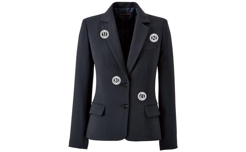 en joie(アンジョア) 81415 [通年]美しいシルエットのテーラードジャケット 無地 商品詳細・こだわりPOINT