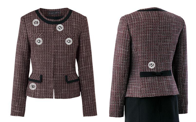 en joie(アンジョア) 81430 [秋冬用]リッチ感あふれるノーカラーがツイードで大人の雰囲気漂うジャケット 商品詳細・こだわりPOINT
