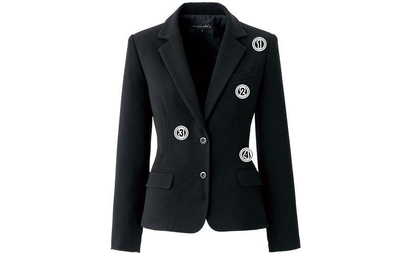 en joie(アンジョア) 81620 すっきりきれいなシルエットのストレッチジャケット 無地 商品詳細・こだわりPOINT