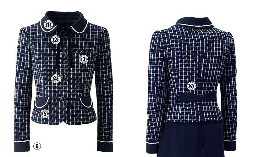 en joie(アンジョア) 81630 [秋冬用]まるいデザイン襟とフラップポケットがかわいいジャケット(リボン付) チェック 商品詳細・こだわりPOINT