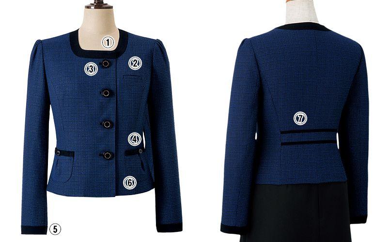 en joie(アンジョア) 81730 [秋冬用]知的エレガンスで高級感のあるブルーツイード素材ジャケット 商品詳細・こだわりPOINT