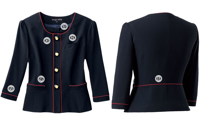 en joie(アンジョア) 86460 [春夏用]清楚で上品なジャケット(胸元リボン付き) 無地 商品詳細・こだわりPOINT