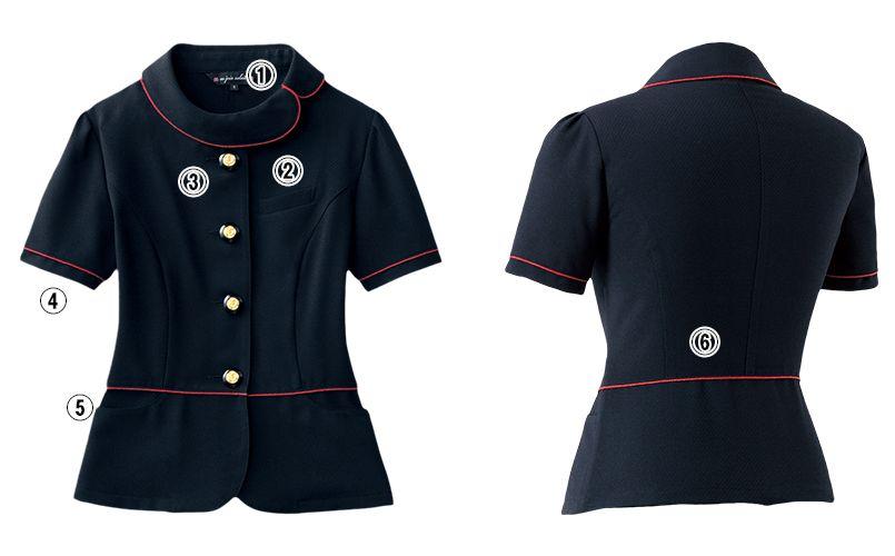 en joie(アンジョア) 86465 [春夏用]丸みのあるアシンメトリーの襟が優しいサマージャケット 無地 商品詳細・こだわりPOINT