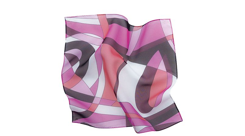 EAZ467 enjoy 爽やかなシフォンの幾何学柄のミニスカーフ 商品詳細・こだわりPOINT