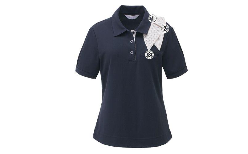 ESP403 enjoy [春夏用]マリン風ドットの爽やかアクセントが魅力的なオフィスポロシャツ(スカーフ付) 無地 商品詳細・こだわりPOINT