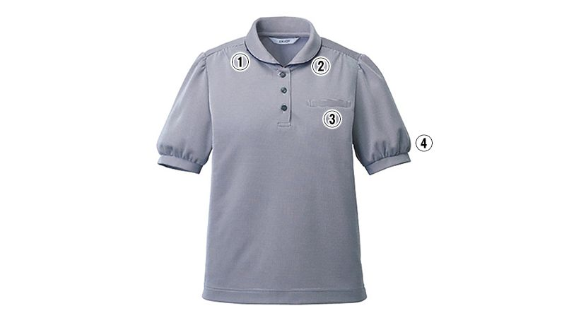 ESP781 enjoy [春夏用]シンプルながら可憐で優しげなショールカラーのポロシャツ[ストレッチ/制菌/吸汗速乾] 商品詳細・こだわりPOINT