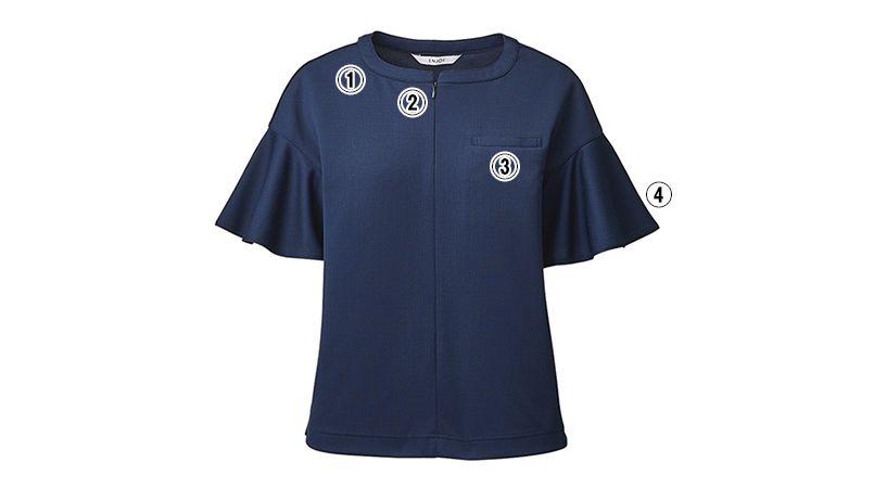 ESP782 enjoy [春夏用]ラッフルスリーブで上品フェミニンなノーカラーポロシャツ[ストレッチ/制菌/吸汗速乾] 商品詳細・こだわりPOINT