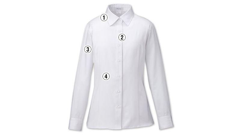 EWB592 enjoy [通年]シルクのような光沢でふんわりと柔らかな肌触りの長袖シャツブラウス 商品詳細・こだわりPOINT
