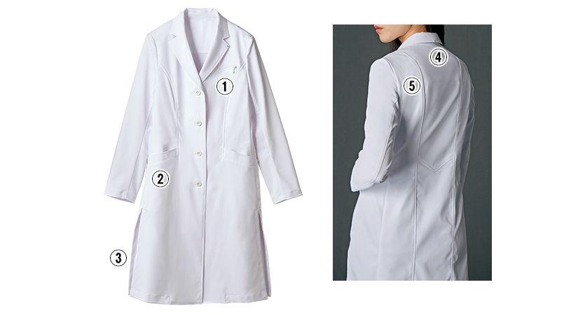 JK111 JUNKO KOSHINO(ジュンコ コシノ) 長袖ドクターコート(女性用) 商品詳細・こだわりPOINT