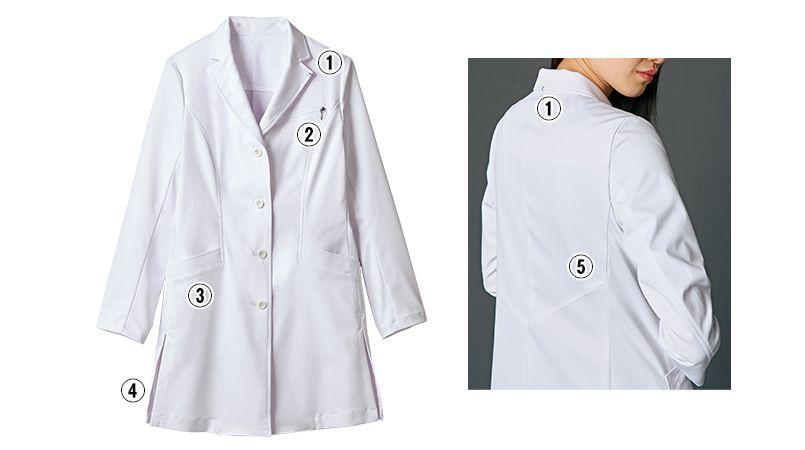 JK112 JUNKO KOSHINO(ジュンコ コシノ) 長袖ドクターコート(女性用) 商品詳細・こだわりPOINT