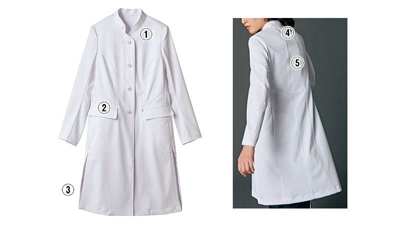 JK113 JUNKO KOSHINO(ジュンコ コシノ) 長袖ドクターコート(女性用) 商品詳細・こだわりPOINT