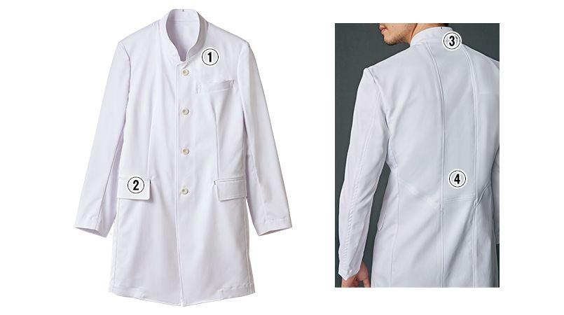 JK193 JUNKO KOSHINO(ジュンコ コシノ) 長袖ドクターコート(男性用) 商品詳細・こだわりPOINT