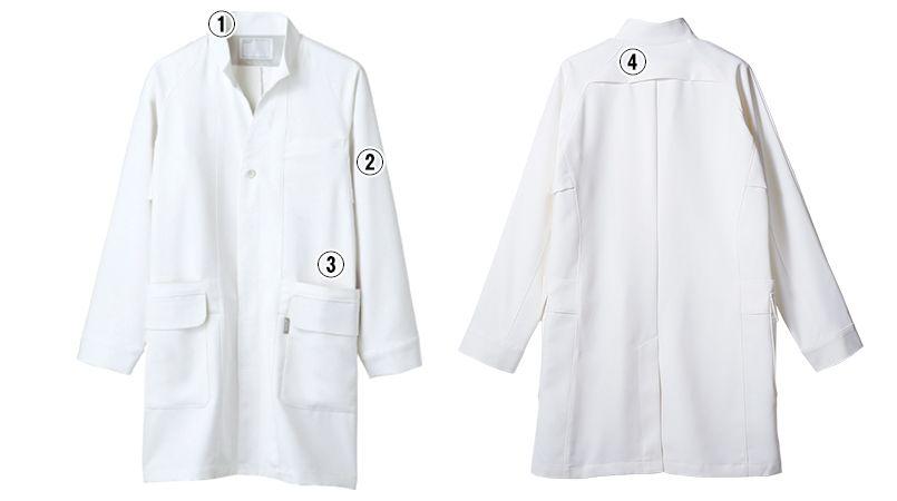LKM701-0100 アシックス(asics) 長袖ドクターコート(男性用) 商品詳細・こだわりPOINT