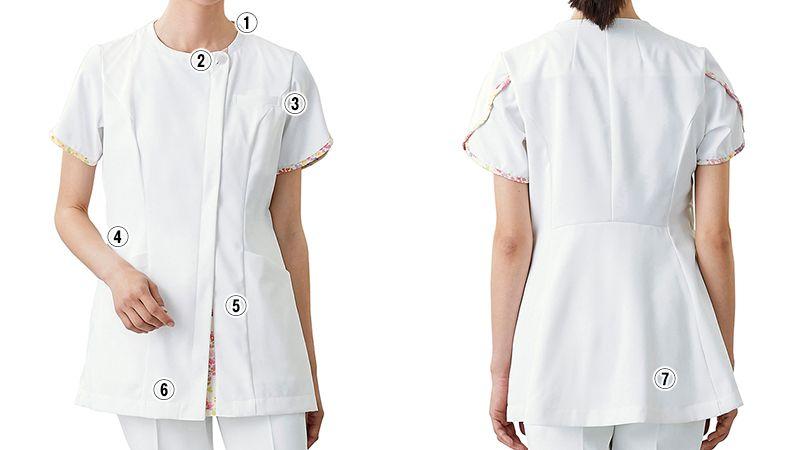 LW802 ローラ アシュレイ 半袖ナースジャケット(女性用) 商品詳細・こだわりPOINT