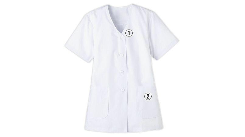 FA-332 Servo(サーヴォ) 調理白衣/半袖(女性用) 襟なし 商品詳細・こだわりPOINT