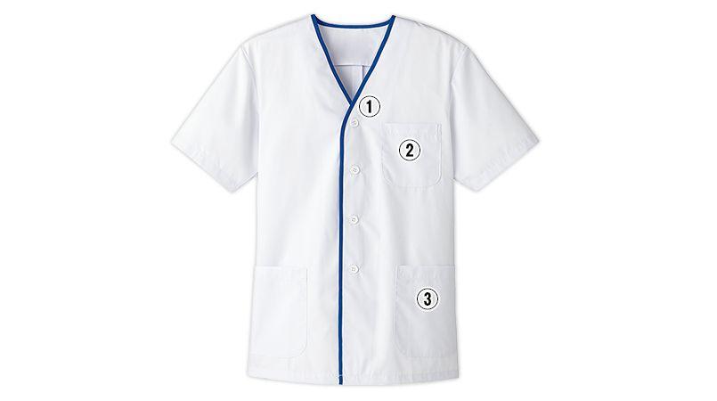 FA-347 Servo(サーヴォ) デザイン白衣/半袖(襟なし)(男性用) 商品詳細・こだわりPOINT
