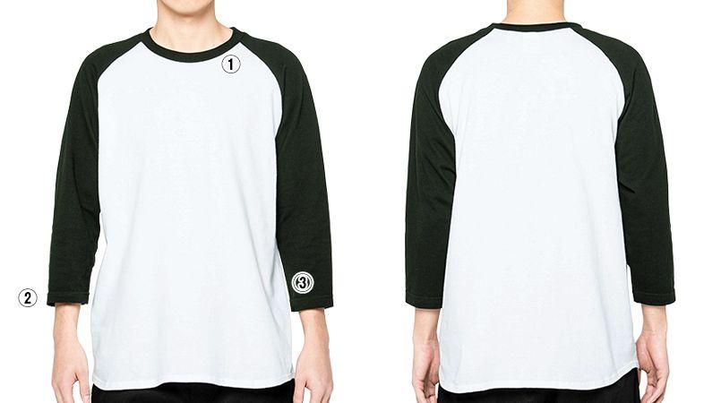 00107-CRB 5.6オンス ヘビーウェイトベースボールTシャツ(男女兼用) 3/4スリーブ 商品詳細・こだわりPOINT
