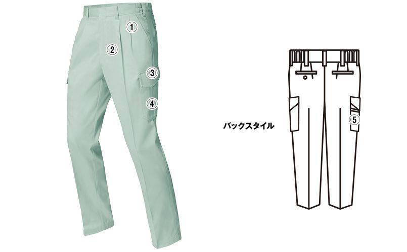 ジーベック 1476 [春夏用]ツータック ラットズボン 商品詳細・こだわりPOINT