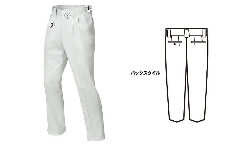 ジーベック 2090 [春夏用]プリーツロン綿100%ツータック スラックス 商品詳細・こだわりPOINT