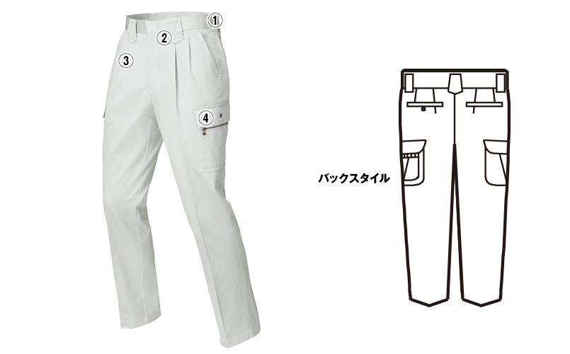 ジーベック 2096 [春夏用]プリーツロン綿100%ツータック ラットズボン 商品詳細・こだわりPOINT