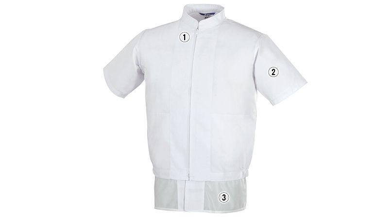 ジーベック 25221 半袖ファスナージャンパー(立ち衿)(男女兼用) 商品詳細・こだわりPOINT