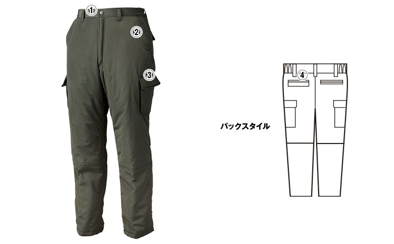 ジーベック 320 高密度タフタボリューム中綿防寒パンツ 商品詳細・こだわりPOINT
